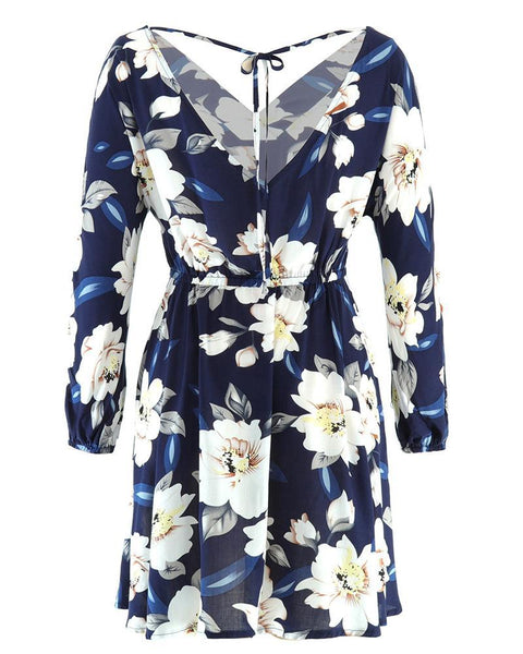 Floral Print V-neck Long Sleeve Casual Dress