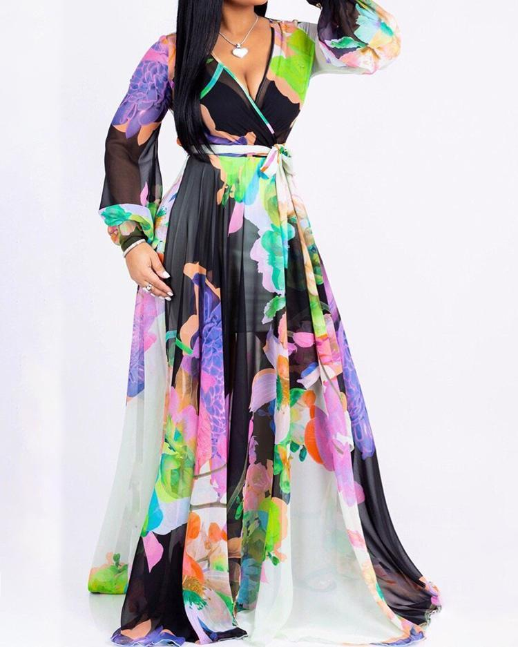 Floral Print Long Sleeve Belted Wrap Maxi Dress
