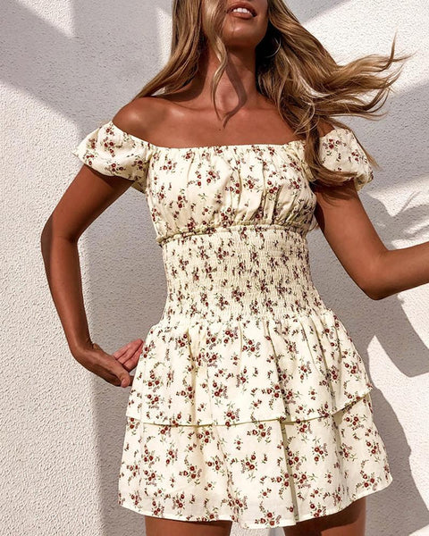Floral Print Square Neck Casual Dress