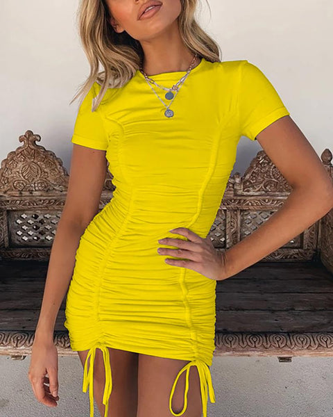 Solid Ruched Drawstring Bodycon Dress