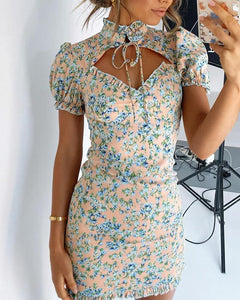 Floral Cut Out Mini Dress