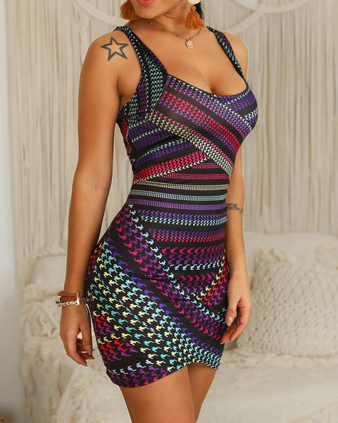 Multicolor Striped Print Bodycon Dress