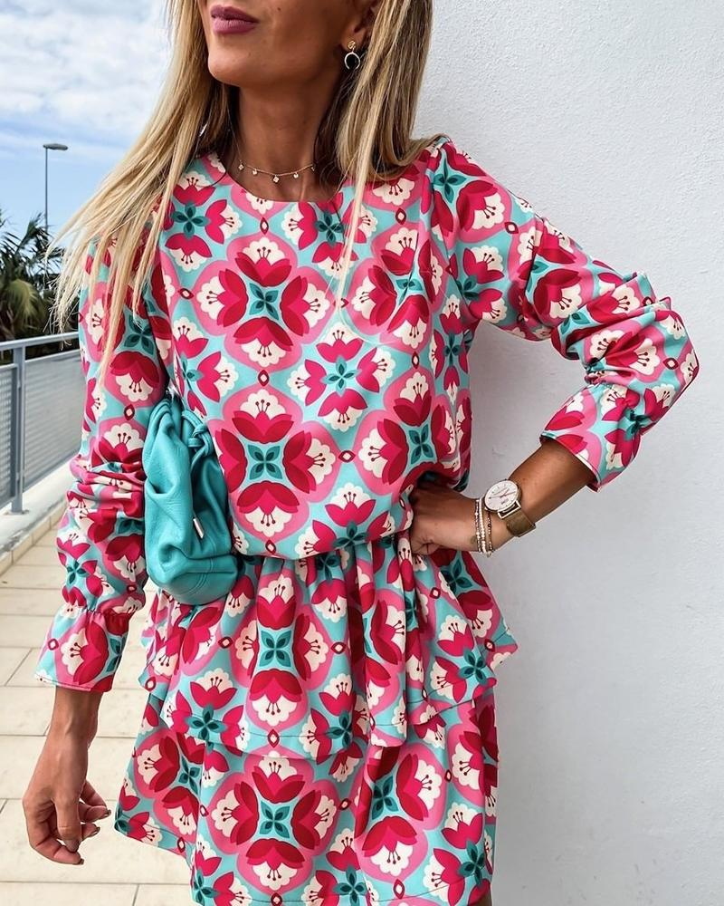 Ruffles Long Sleeve Floral Print Dress
