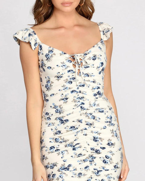 Floral Print Lace-up Ruched Dress