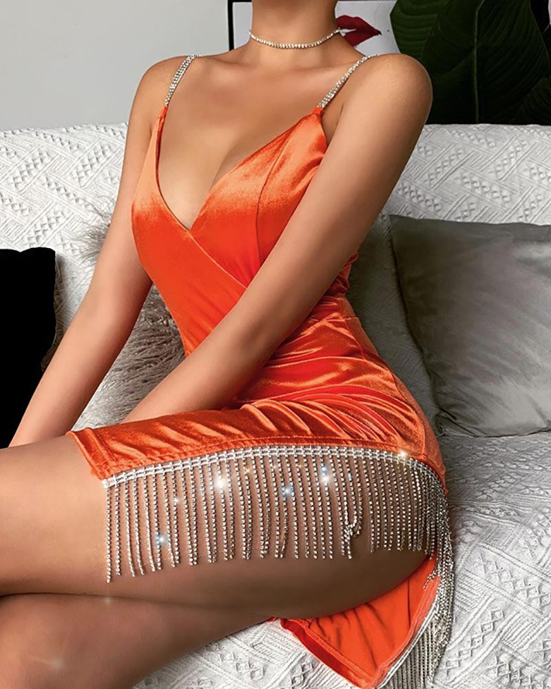Tassel Studded Spaghetti Strap Bodycon Dress