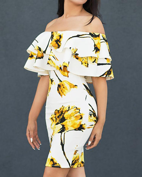 Floral Layered Ruffles Off Shoulder Bodycon Dress