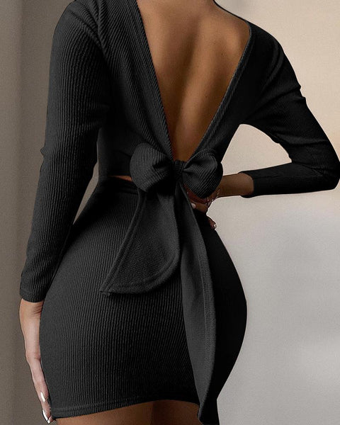 Open Back Knotted Long Sleeve Dress