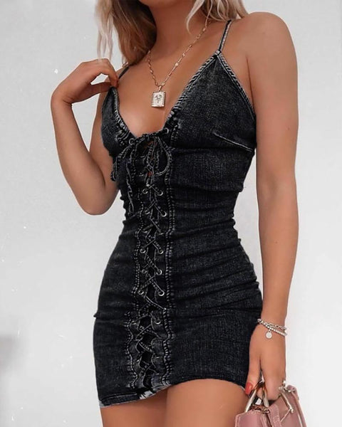 Eyelet Lace-up Denim Bodycon Dress