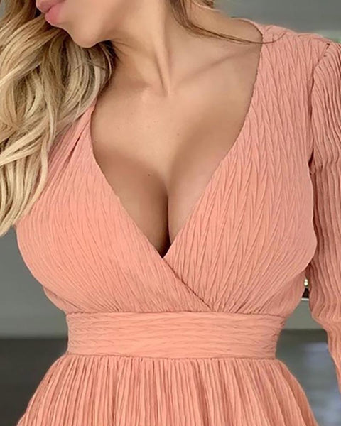 Deep V Ruffles Mini Dress