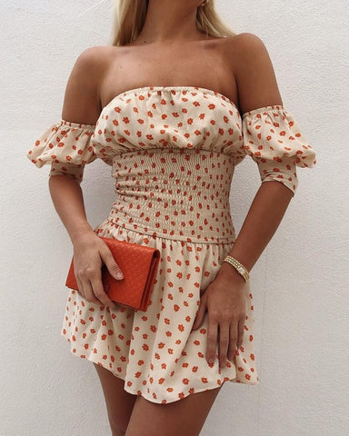 Off Shoulder Shirring Design Floral Print Dress