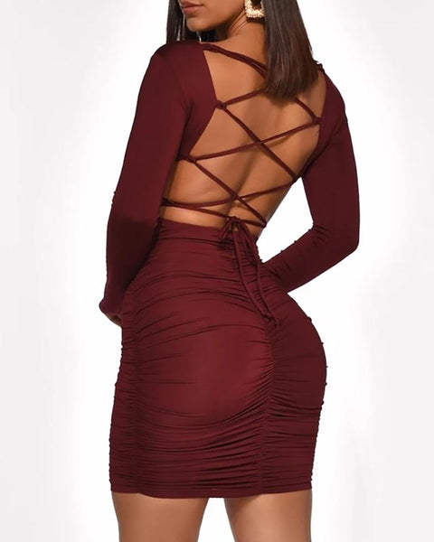 Ruched Backless Lace-Up Bodycon Dress