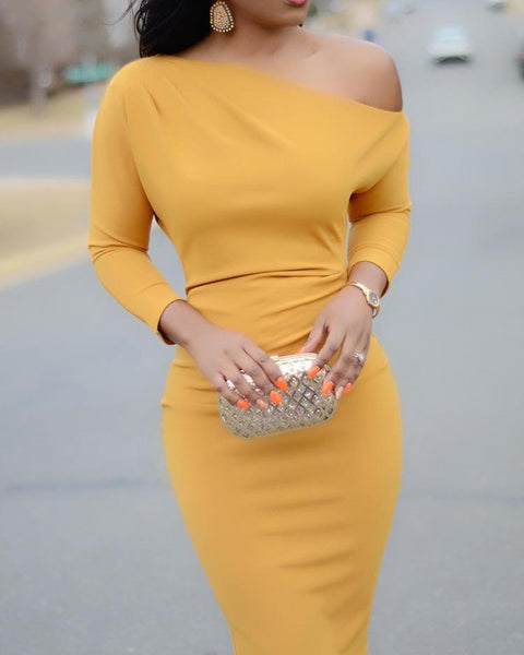 Solid Skew Neck Bodycon Dress