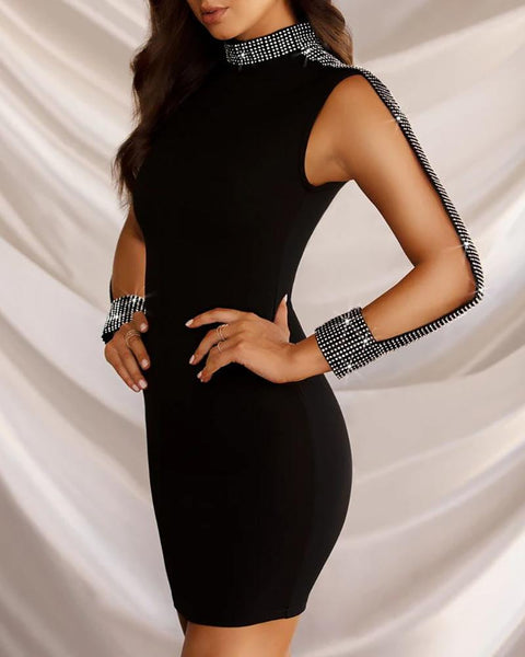Mock Neck Sequin Bodycon Dress