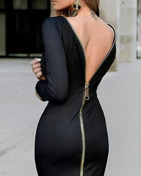 Zip Back Sexy Bodycon Dress