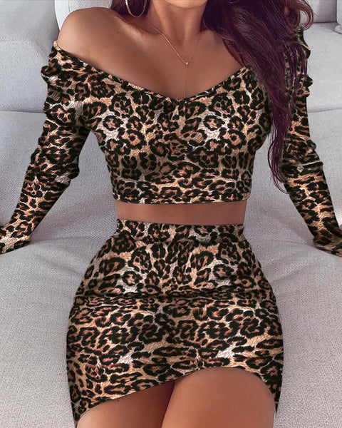 Off Shoulder Leopard Print Top & Skirt Sets