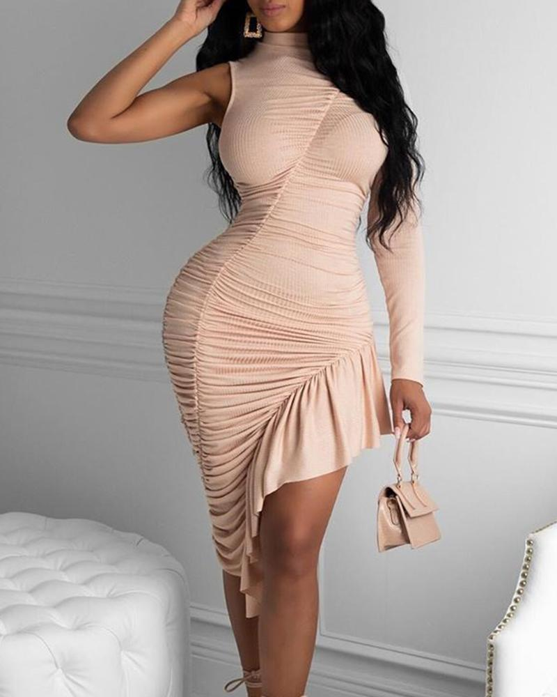 One Shoulder Ruffle Hem Bodycon Dress