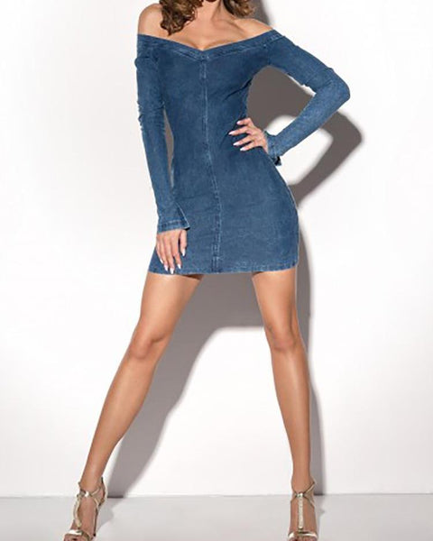 Sexy Off Shoulder Sheath Denim Dress