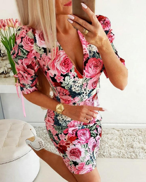 V-neck Puff Sleeve Floral Print Dress