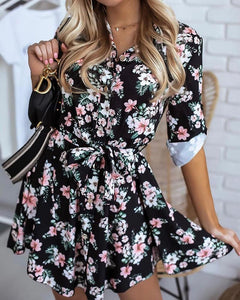 Floral Print Button Design Shirt Dress