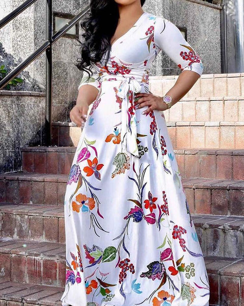 Floral Print Tied Wrap Boho Maxi Dress