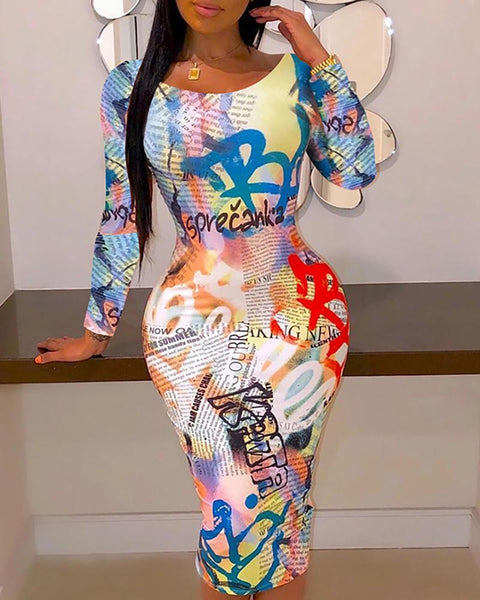 Newspaper Print Colorblock Long Sleeve Bodycon Dress
