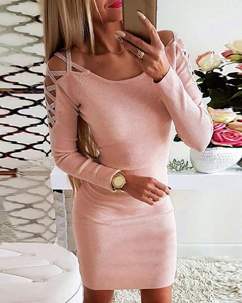 Solid Lace-Up Studded Design Bodycon Dress