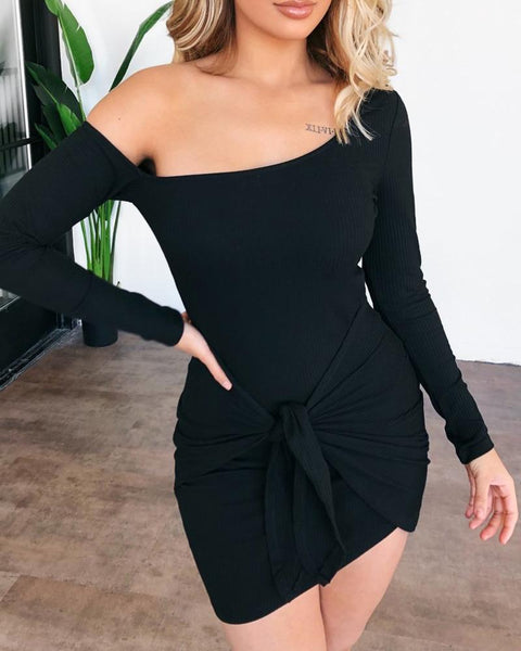 Solid Long Sleeve Knotted Dress