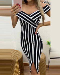 Striped V Neck Bodycon Dress
