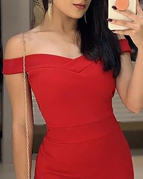 Solid Off Shoulder Ruffle Bodycon Dress