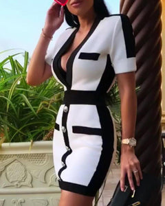 Half Sleeve Patchwork Bodycon Dress