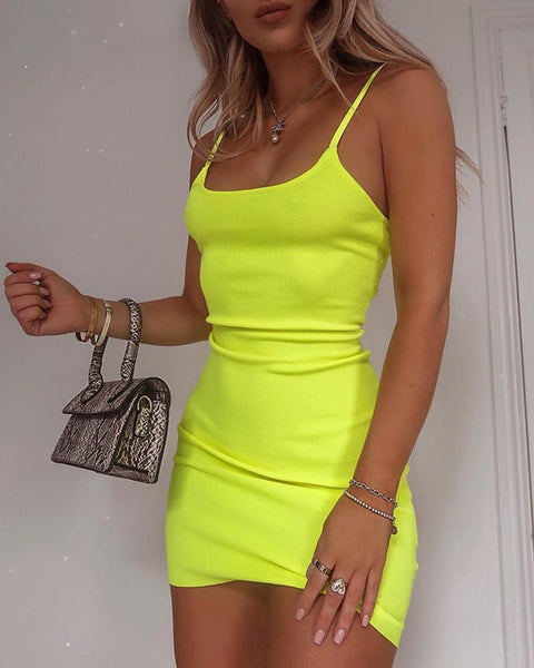 Solid U-neck Spaghetti Strap Mini Dress