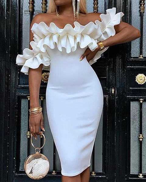 Off Shoulder Ruched Design Bodycon Dress