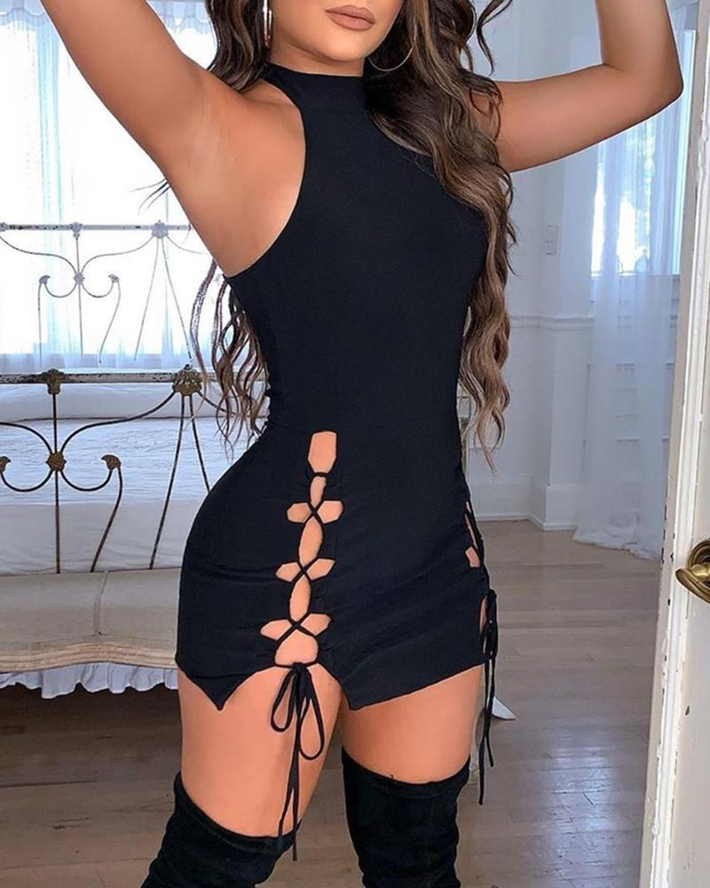 Solid Hollow Out Lace-Up Sleeveless Bodycon Dress