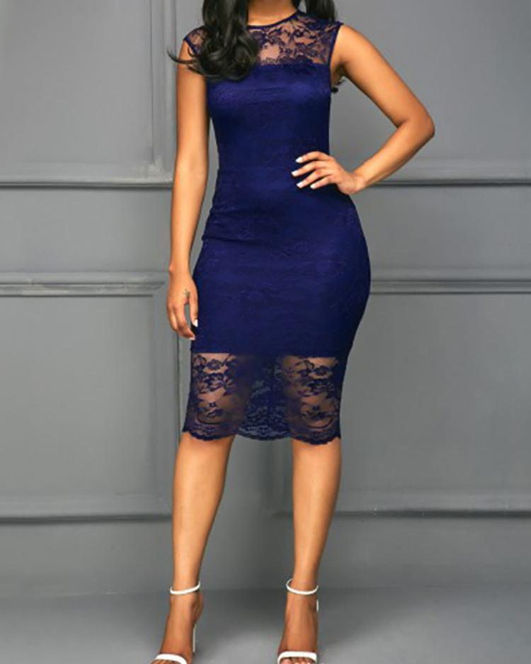 Lace Patchwork Slinky Midi Bodycon Dress