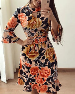 Floral Print Cutout Ruffles Flared Sleeve Casual Dress