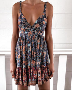 Tied Strap Floral Print Backless Pleated Dress