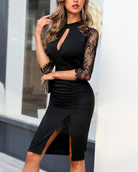 Eyelash Lace Cutout Dress