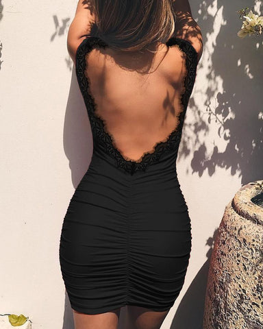 Open Back Eyelash Lace Ruched Dress