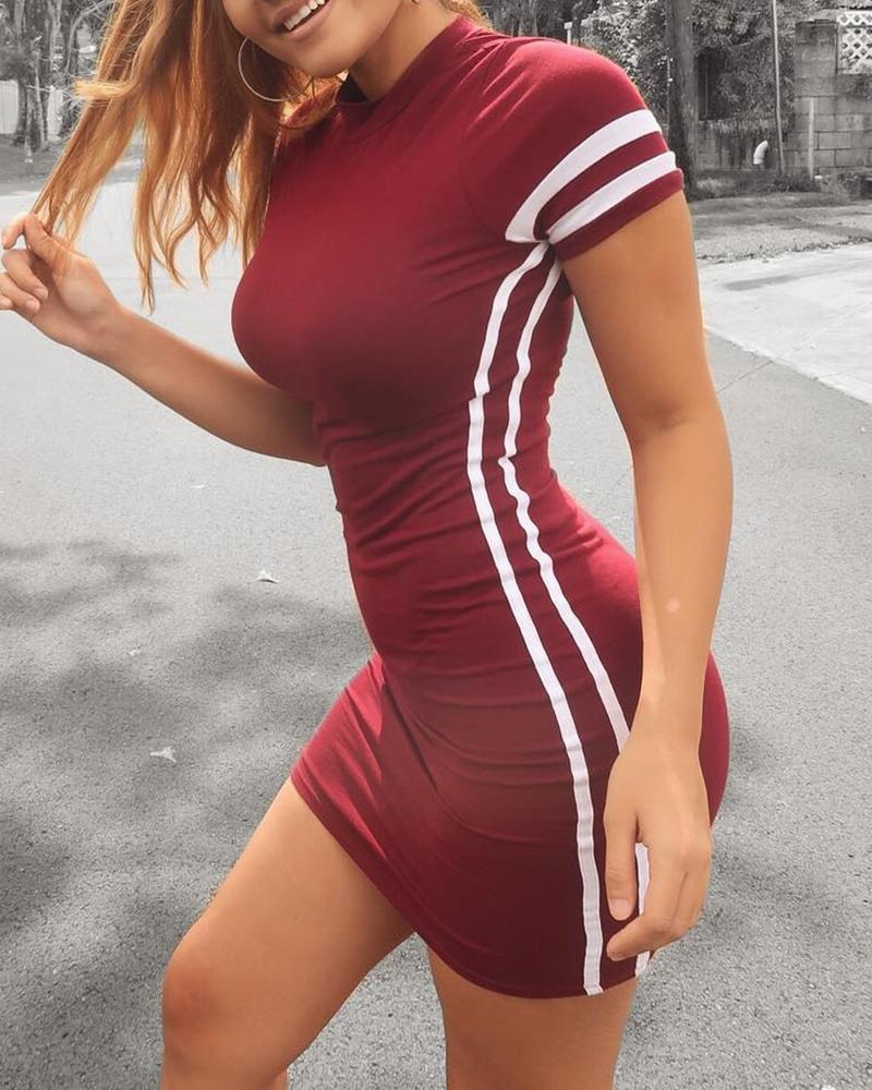 Round Neck Striped Tape Short Sleeve Dress