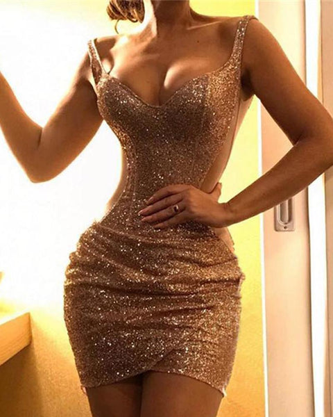 Glitter Spaghetti Strap Sequins Bodycon Dress