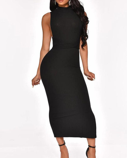 Crisscross Back Rib Midi Dress