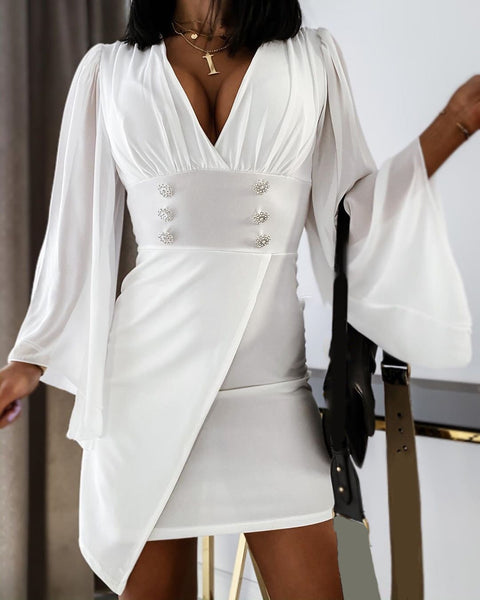 Solid Mesh Bell Sleeve V-neck Dress