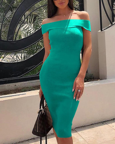 Fold Over Off Shoulder Bodycon Dress