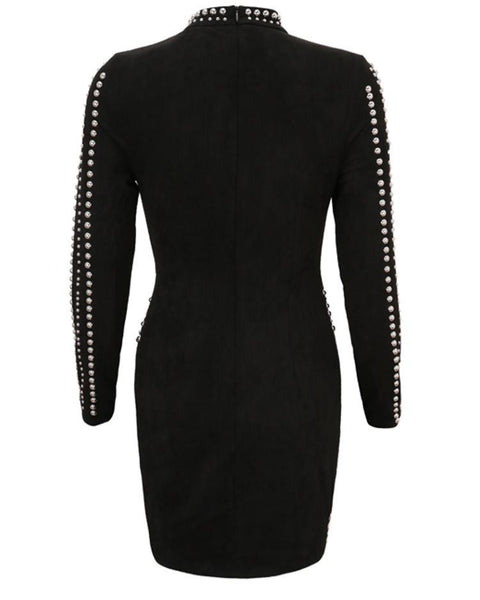 Beaded Long Sleeve Bodycon Dress