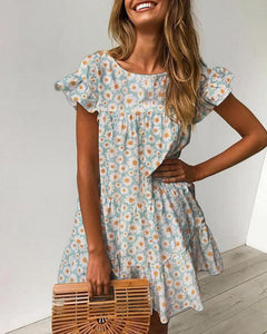 Floral Print Ruffles Ruched Casual Dress