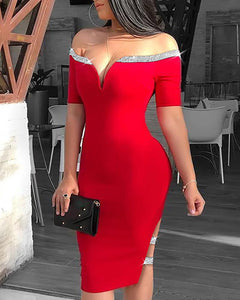Off Shoulder Sequins Insert Slit Bodycon Dress