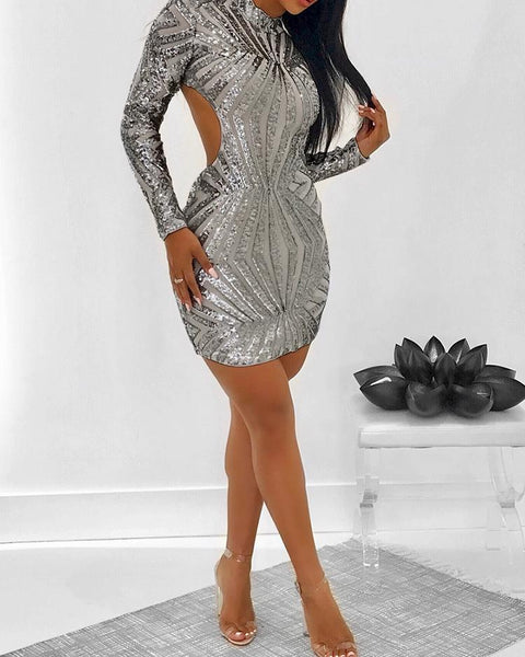Shinny Open Back Long Sleeve Bodycon Dress