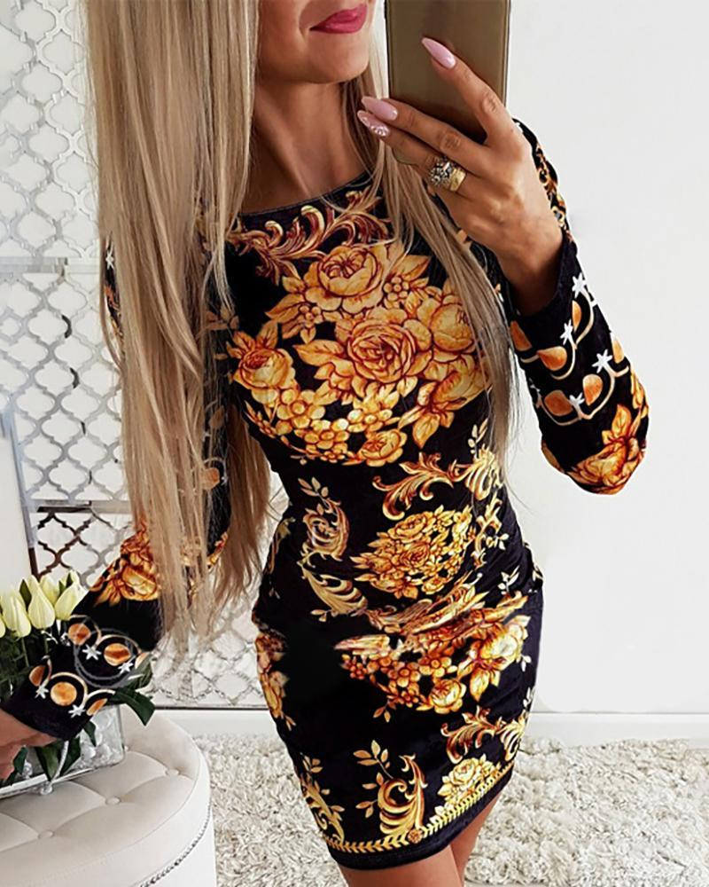 Paisley Print Long Sleeve Bodycon Dress