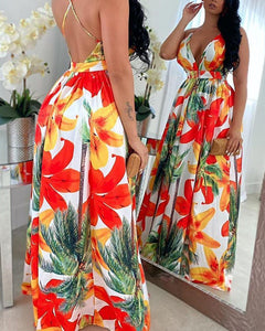 Floral Print Backless Maxi Dress