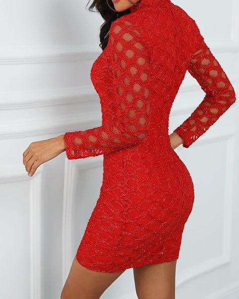 Glitter Hollow Out Bodycon Dress